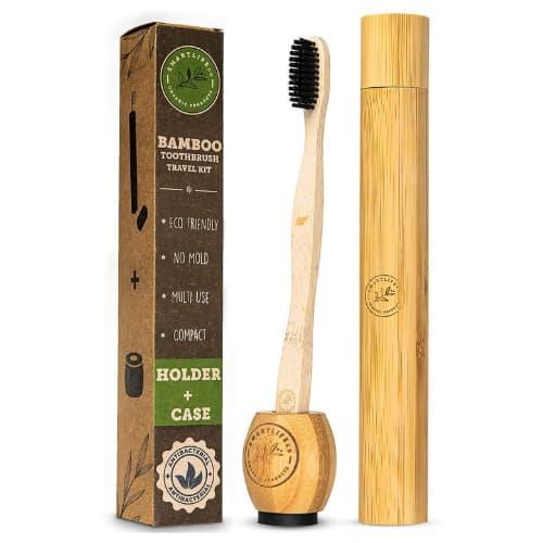 accesorio de viaje ecologico cepillo dental de bambu