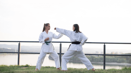 women karate female fight self-defense