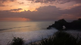 Sunset at Tanah Lot Temple, only 20 minutes from the camp.