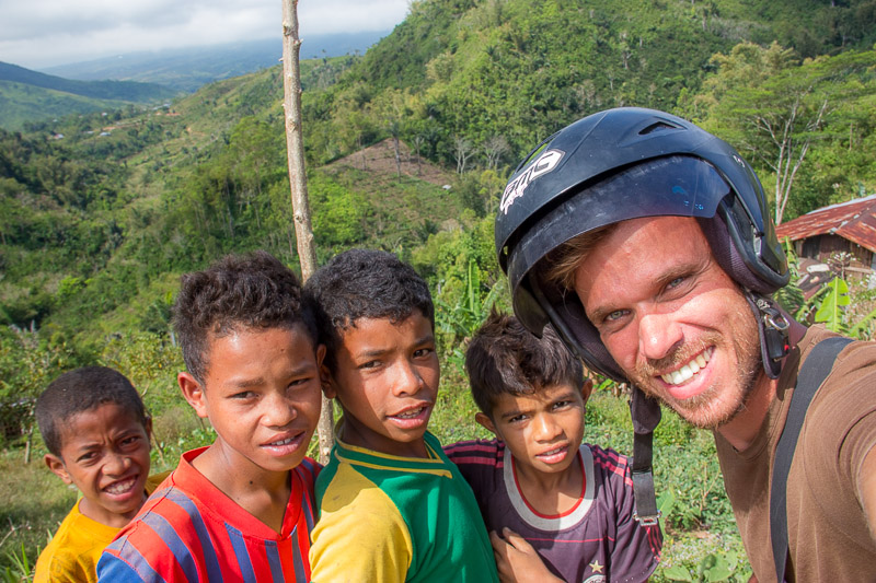 Kids Along The Way To Ruteng On The Island Of Flores Indonesia
