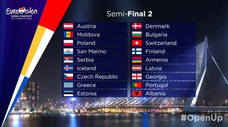 Eurovision 2020 semi final 2 allocation