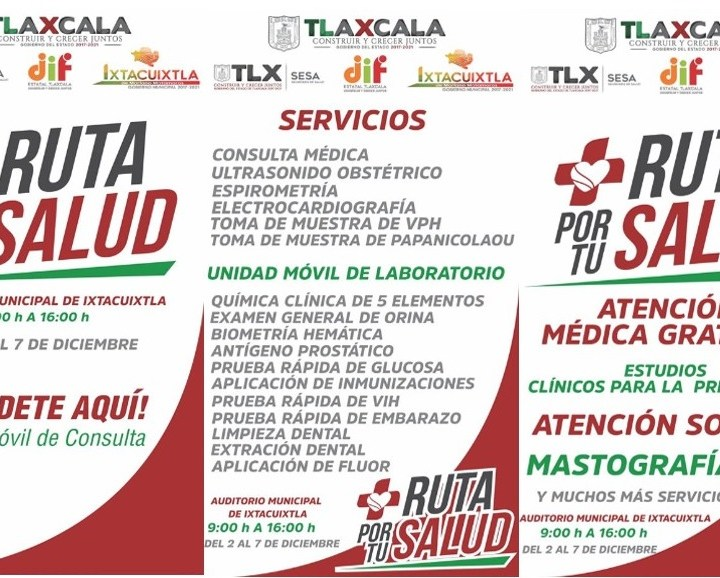 """Del 2 al 7 de diciembre la """"Ruta por tu salud"""" en el municipio de Ixtacuixtla."""