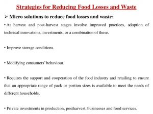 Solutions to food losses and food waste