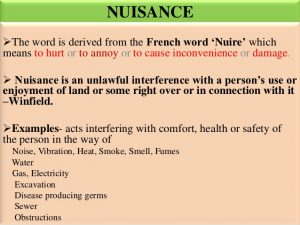 The legal definition of nuisance