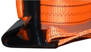 2x30 ratchet strap w black flat hook orange close up of flat hook