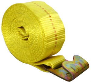 "3"" x 27' winch strap with flat hook yellow esc"