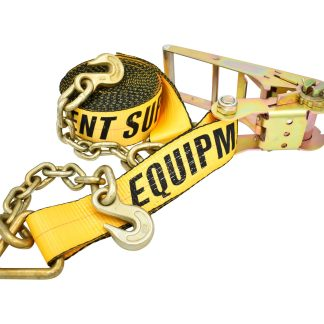 "3"" x 30' Ratchet Strap with Chain Anchor - Yellow"