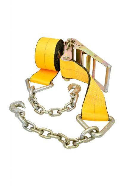 "4"" x 30' Ratchet Strap with Chain Anchor - Yellow, 5400 lb WLL"