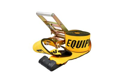 "4"" x 30' Ratchet Strap with Flat Hook - Yellow, 5400 lb WLL"