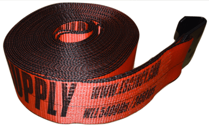 4in x 40ft ESC Winch Strap with Flat Hook Red - view 2