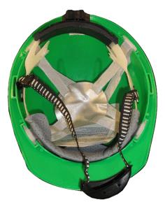 green safety helmet inside