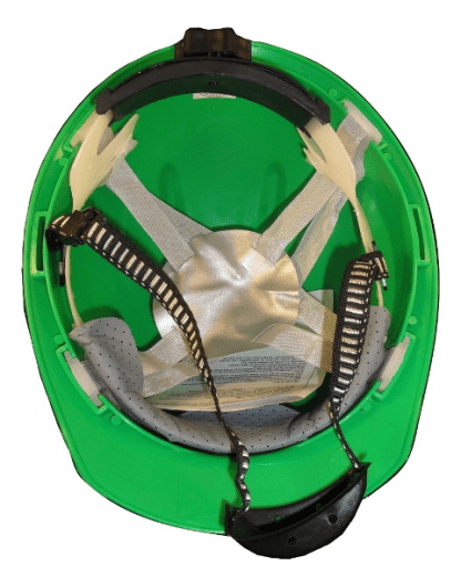 green safety helmet inside