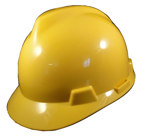 yellow safety helmet ratcheting adjustment