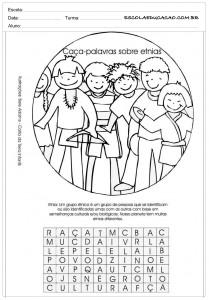 Atividades de Ensino Religioso Caça Palavras sobre Etnia