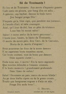 poesie Se de Toutsants de G. Brunet, extrait de l'Armanac de la Gascougne 1917