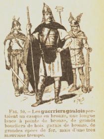 Les guerriers gaulois, illustration tirée du manuel La Petite histoire de la civilisation française de Rambaud