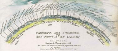 Panorame des Pyrénées vu des Puntous de Laguian dessiné par Raymond d'Espouy (1928) (1 sur 1)