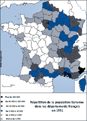 Répartition de la population italienne dans les départements francais en 1931-V2