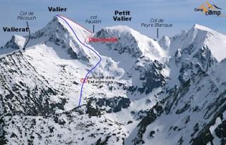Massif du Valier avec repérage des pics