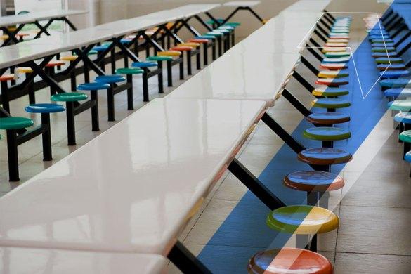 mesa de refeição escolar vazia