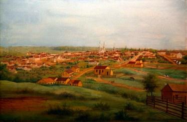 Curitiba em 1888, aquarela sobre papel de Carlos Hubenthal.