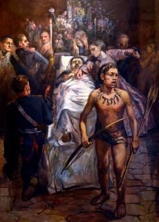 Guardamento do sargento mór José Felix, na Fazenda Fortaleza, em tela de Theodoro de Bona. A mulher no centro do quadro representa Onistarda do Rosário, esposa de José Felix, mantida por ele em cárcere privado durante 13 anos, cuspindo no corpo do marido durante o velório.