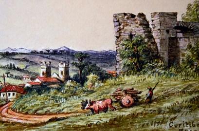 Aquarela de Willian Loyd, retratando um trabalhador conduzindo um carro de bois nas ruínas, com a antiga catedral ao fundo, em 1872.