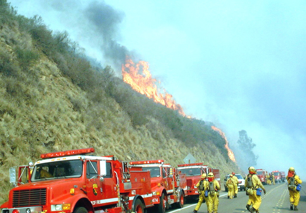 The point at which the fire was turned back from coastal North County San Diego