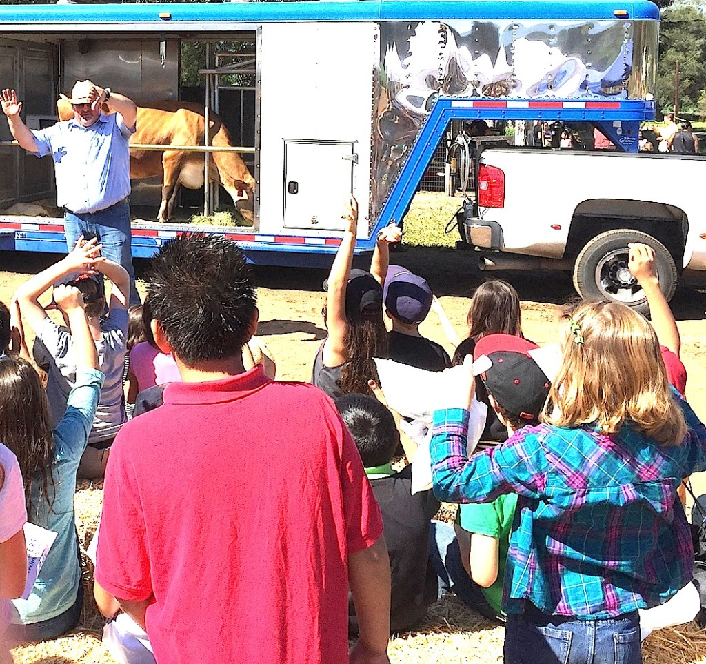 Dairy Council of California showed kids how to milk cows with a mobile dairy classroom.