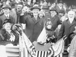 President Woodrow Wilson throws out the first pitch at the 1913 World Series.