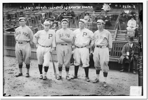 Duffy Lewis, Dutch Leonard, & Harry Hooper of Boston AL; Ed Burns & Gavvy Cravath of Philadelphia NL (baseball) by Bain News Service.