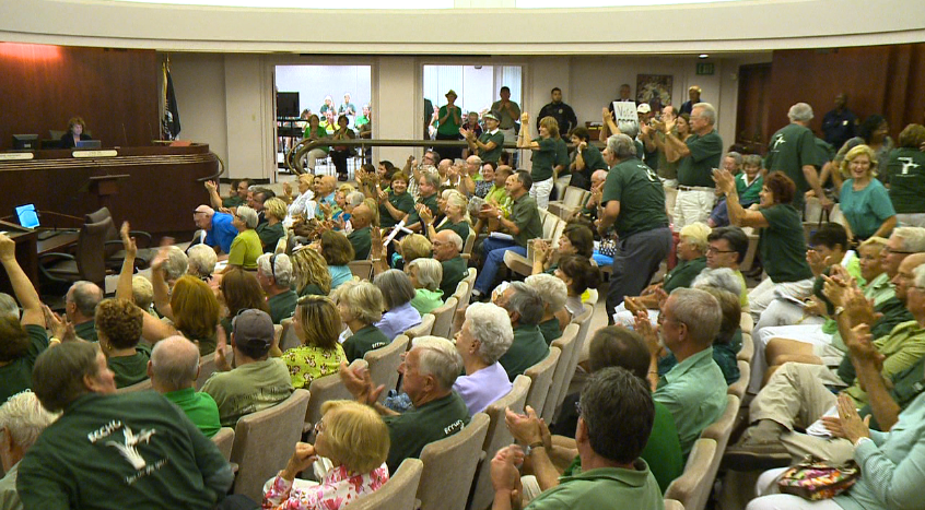 Neighbors and opponents of development plans for the defunct country club packed Escondido City Hall in 2013 to protest.