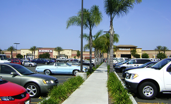 Parking lot view of Nordahl Marketplace.