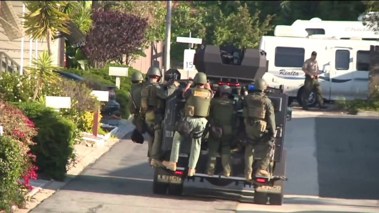 San Diego Sheriff's SWAT team in action over turtle killing incident.