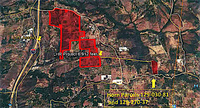 Horn property location relative to proposed Lilac Hill Ranch boundaries.
