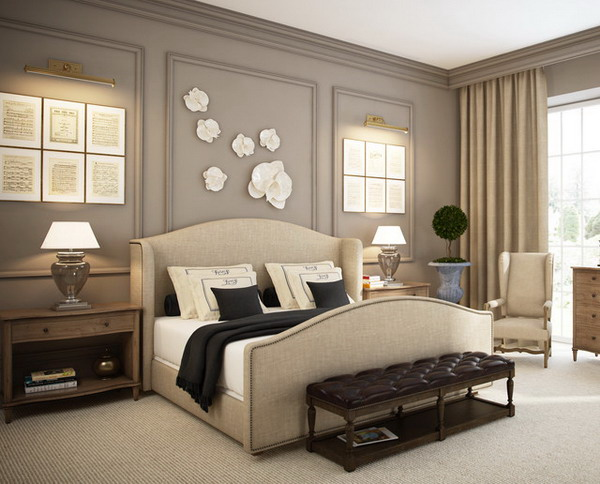 Furniture adds finishing touches to the romantic bedroom.