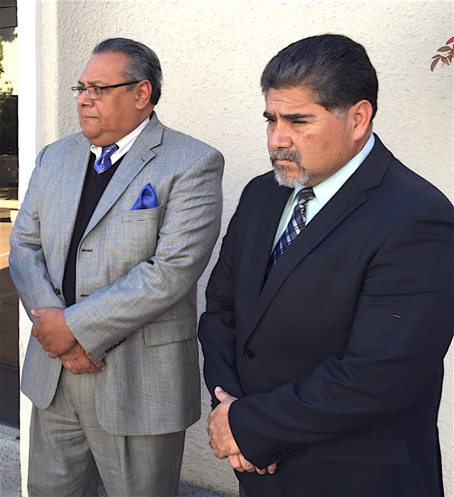 Attorney Manuel Torres and EUSD trustee Jose Fragozo outside Vista court Thursday.