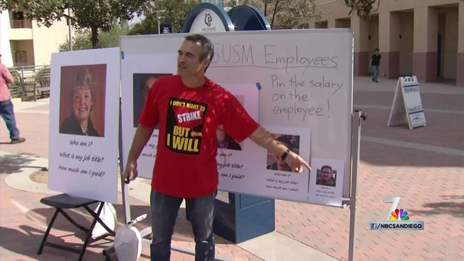 CSUSM History Professor Darel Engen, Ph.D. talks about salary differences within the university system. (NBC San Diego 7 screenshot)