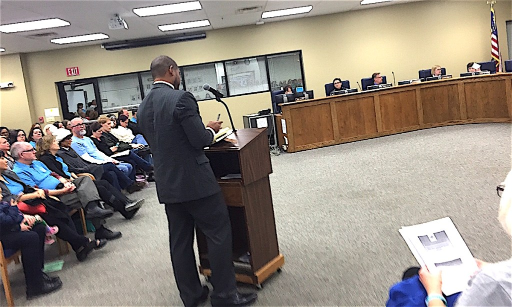 Chris Garner addresses the EUSD Board.