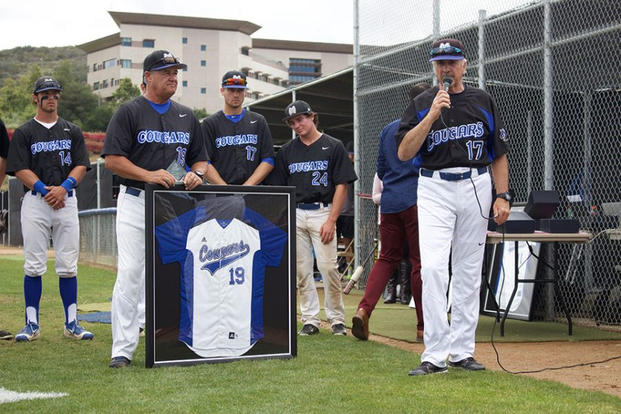 Coach Pugh receives was recognized during a special ceremony prior to his final game coaching on May 8. The Cougars, of course, won. (CSUSM)