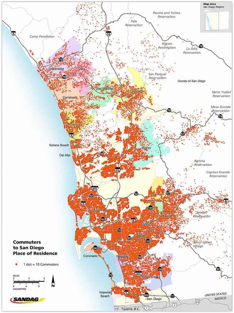 SANDAG transit usage map.