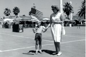 Tommy boy, age 4, with mom at the Fair.