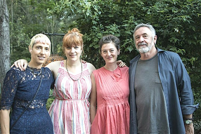 Outside, at the June 4 grand opening of Ship in the Woods: co-director Lianne Mueller, artists Christine Shields and Johanna Jackson, and gallery owner Mark Quint/Maurice Hewitt.