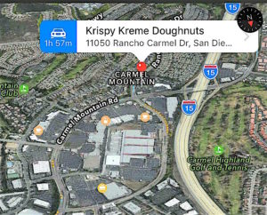 North County being more health-conscious than L.A., closest Krispy Kreme was down the freeway in map posted on car show social media site.