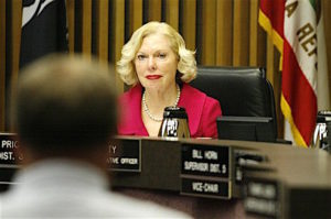 former County Supervisor Pam Slater-Price i=during a board meeting.