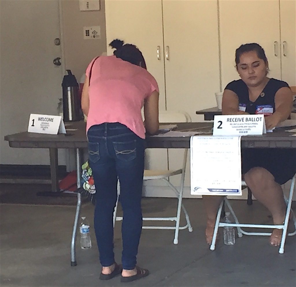 Voting at Andy Granger's home turned polling station 455-270 in Southwest Escondido.