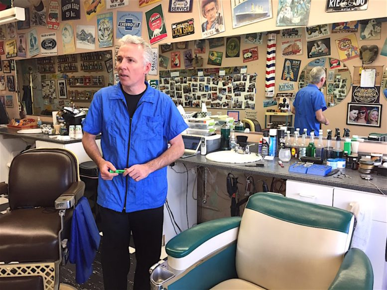 Andy Granger steered clear of the storm at his home turned polling place by taking care of business at his barber ship.
