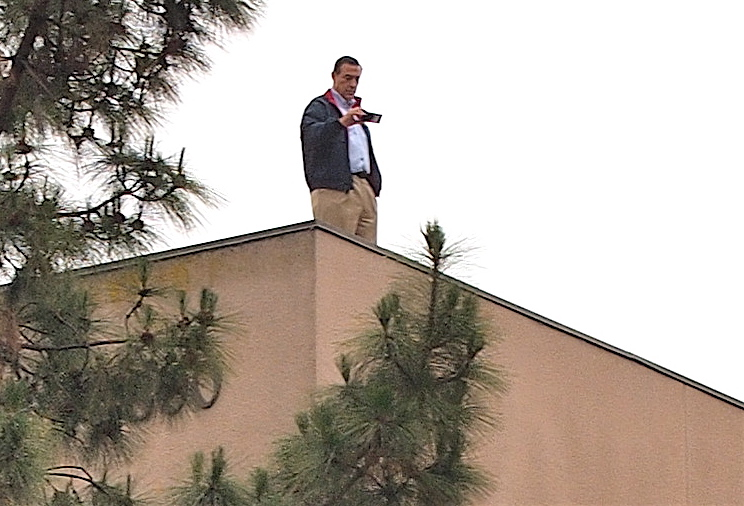 Darrell Issa, With All Due Respect To The Drifters, Goes Up On The Roof To  Surveil Protestors At His Vista Office.