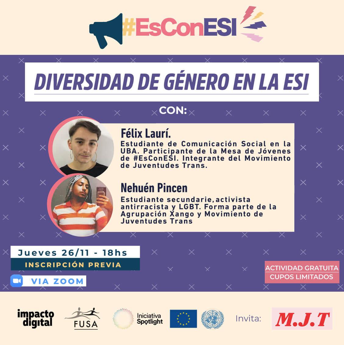 Flyer de Taller Diversidad de género en la ESI