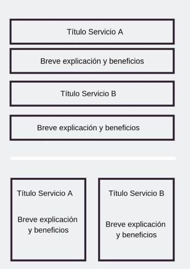 Estructura de los textos de la web - Servicios